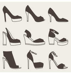 Set of brown shoes silhouettes on gray background vector image