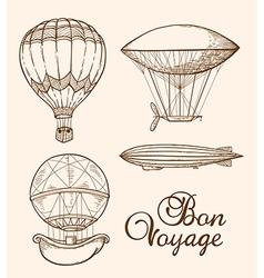 Set of vintage hand drawn air balloons vector image vector image