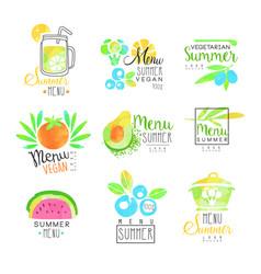 summer vegetarian menu set for logo design vector image