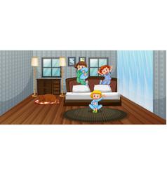 three kids having fun in bedroom vector image vector image