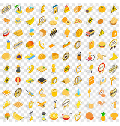 100 yellow icons set isometric 3d style vector