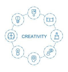 8 creativity icons vector