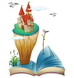 A book with an island with a castle vector image