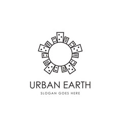 abstract earth and high building logo vector image