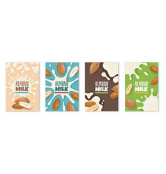 almond milk dairies package design template diet vector image