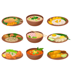 Appetizing thai food served on ceramic plates side vector