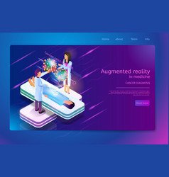 Augmented reality in cancer diagnostic web banner vector