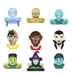 Avatar halloween party role characters bust icons vector