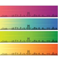 Bath multiple color gradient skyline banner vector