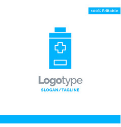 Battery minus plus blue solid logo template place vector