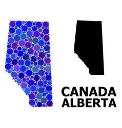 Blue round dot mosaic map alberta province vector