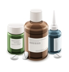 Bottles with medical drugs vector