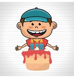 boy cake candles dessert vector image
