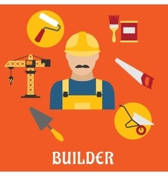 Builder with flat tools icons vector