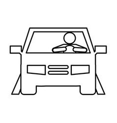 Businessman driving car silhouette vector