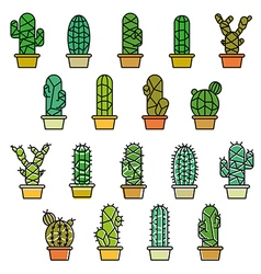Cactus collection in line vector image