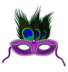 carnival mask with peacock feathers isolated vector image