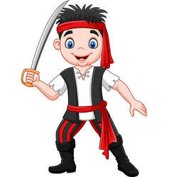 cartoon pirate holding dagger vector image