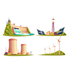 Cartoon power stations isolated set vector