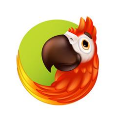cartoon tropical bird logo or label cute ara vector image