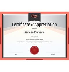 Certificate appreciation template orange vector