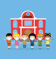 Children with a mask in front their school vector