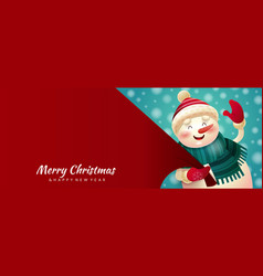 colorful red merry christmas banner vector image