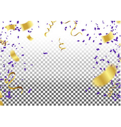 confetti gold and blue ribbons celebration vector image