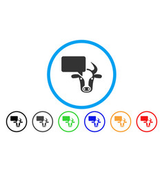 Cow opinion rounded icon vector