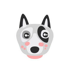 cute bull terrier dog face funny cartoon animal vector image