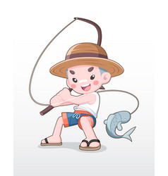 cute style japanese boy fishing vector image