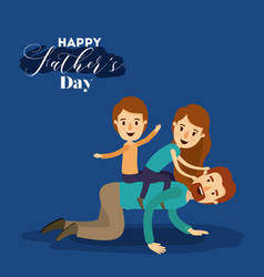 Dark blue background with dad playing with vector