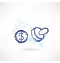 Dollar simbol grunge icon vector image