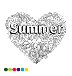 doodle flowers heart coloring page vector image