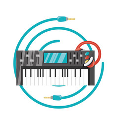 electric keyboard with headphone concept music vector image
