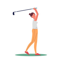 female golf player character swings to strike flat vector image