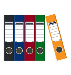 files ring binders colorful office folders vector image