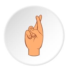 Fingers crossed icon cartoon style vector