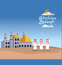flat arabian men character in front of mosque vector image