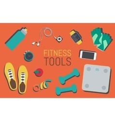 Flat icons set of fitness tools elements Gym bag vector
