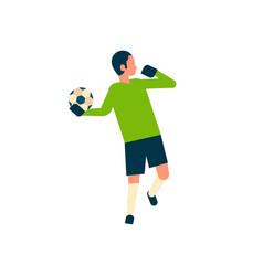 Football player goalkeeper throw the ball out vector