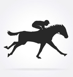 galloping racehorse with jockey silhouette02 vector image