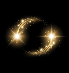 Glittering star dust circle of lights golden color vector
