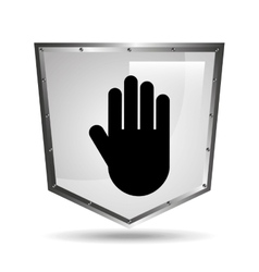 hand symbol shield steel icon vector image