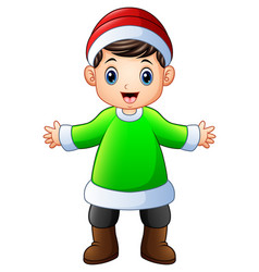 happy boy in green santa claus costume with xmas r vector image