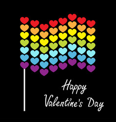 happy valentines day rainbow flag wave icon heart vector image