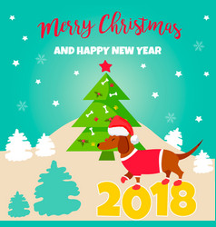 Holiday dachshund and winter scene vector