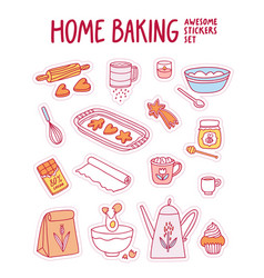 home baking awesome stickers set vector image