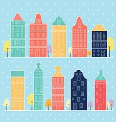 home sweet home amsterdam in snow pastel color vector image