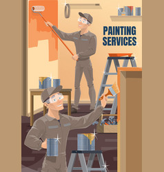 house repair service workers painting wall vector image